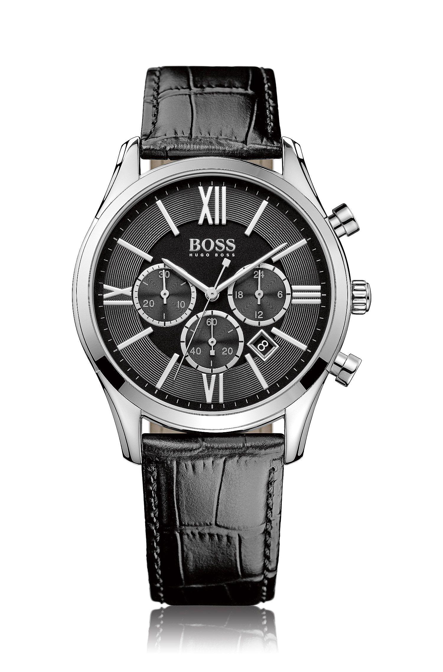 Cronografo a tre contatori in acciaio inox lucido con quadrante nero e decorazione ghiglioscé