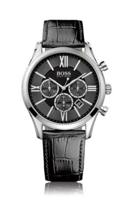 Polished stainless-steel three-eye chronograph watch with black guilloché dial, Black