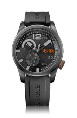 Blackened stainless-steel watch with multi-eye function and silicone strap, Black