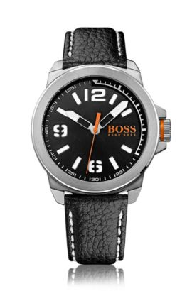 Three-hand watch with leather strap, Black