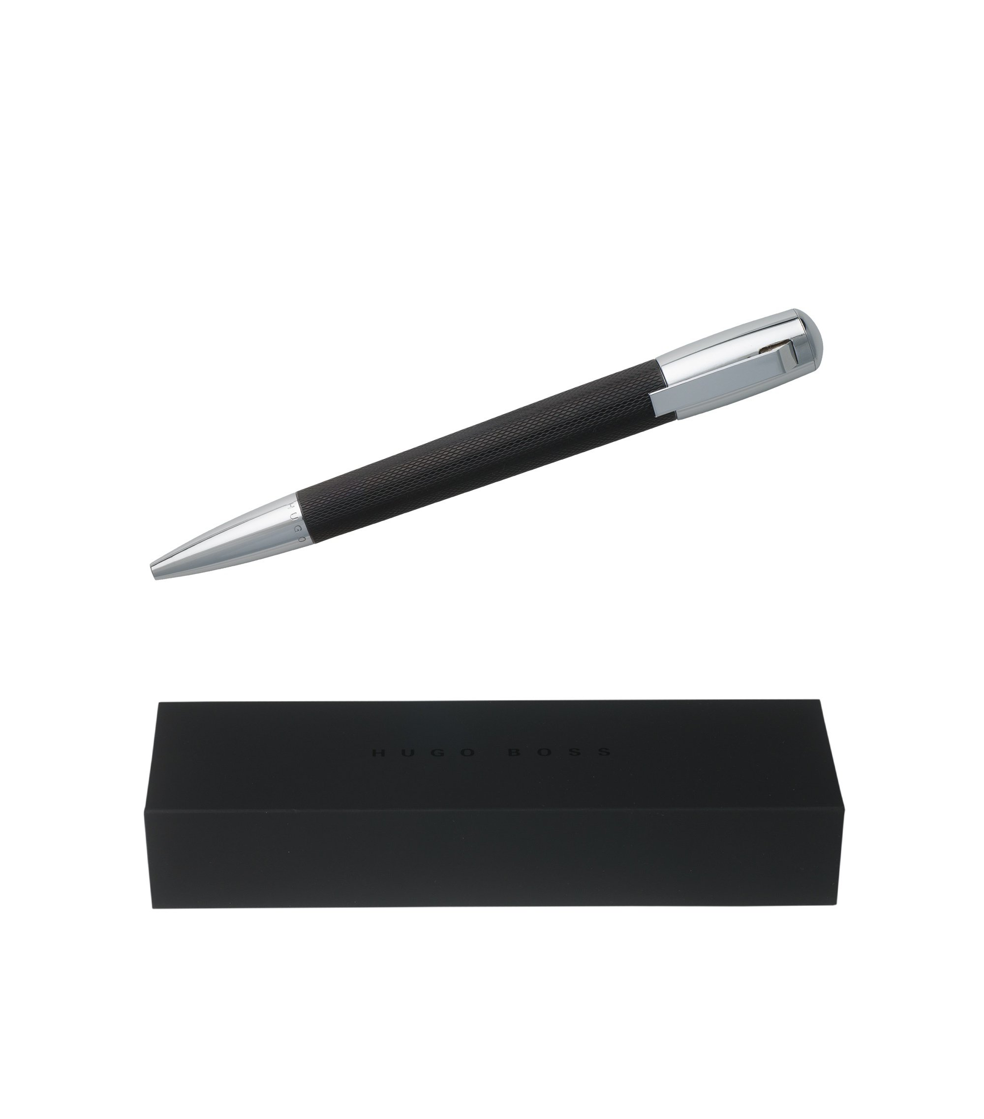 Ballpoint pen in textured black lacquer, Black