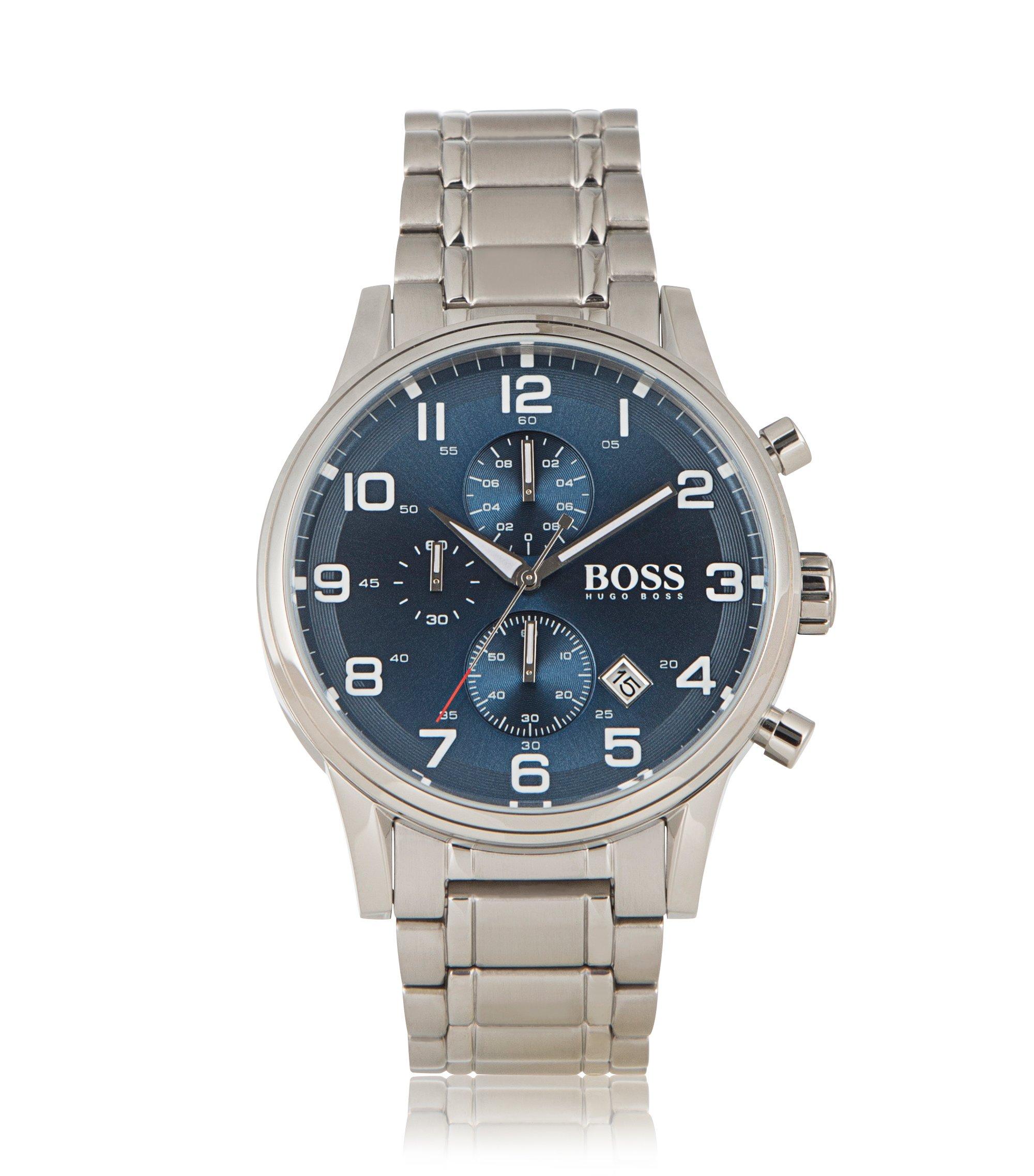 Chronograph ´HBAERIR` mit silbernem Edelstahlgehäuse, Grau