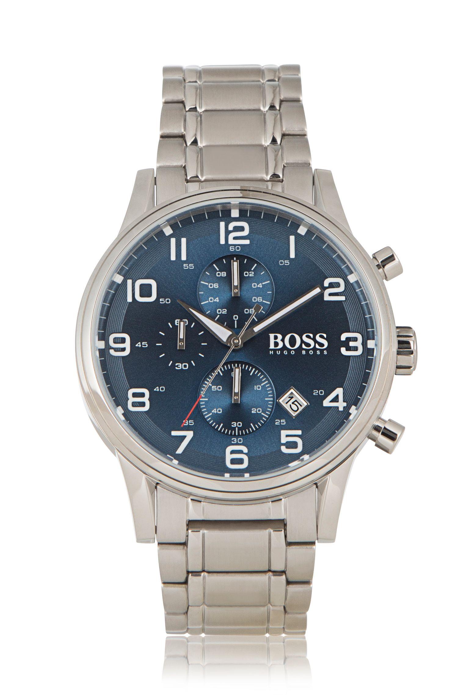 Chronographe «HBAERIR» avec boîtier en acier inox argenté