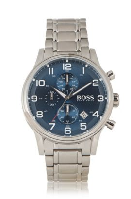 Chronograph 'HBAERIR' with a silver stainless-steel casing, Grey
