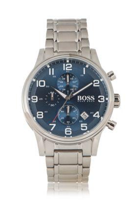 Chronographe «HBAERIR» avec boîtier en acier inox argenté, Gris
