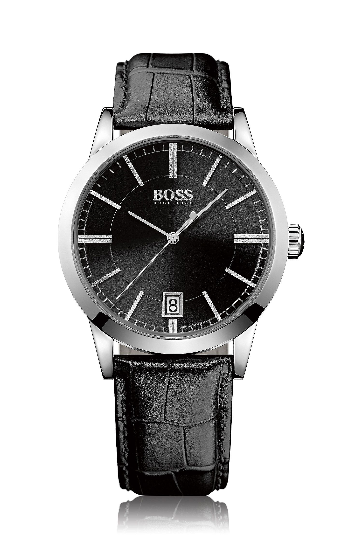 Polished stainless-steel three-hand quartz watch with black sunray dial