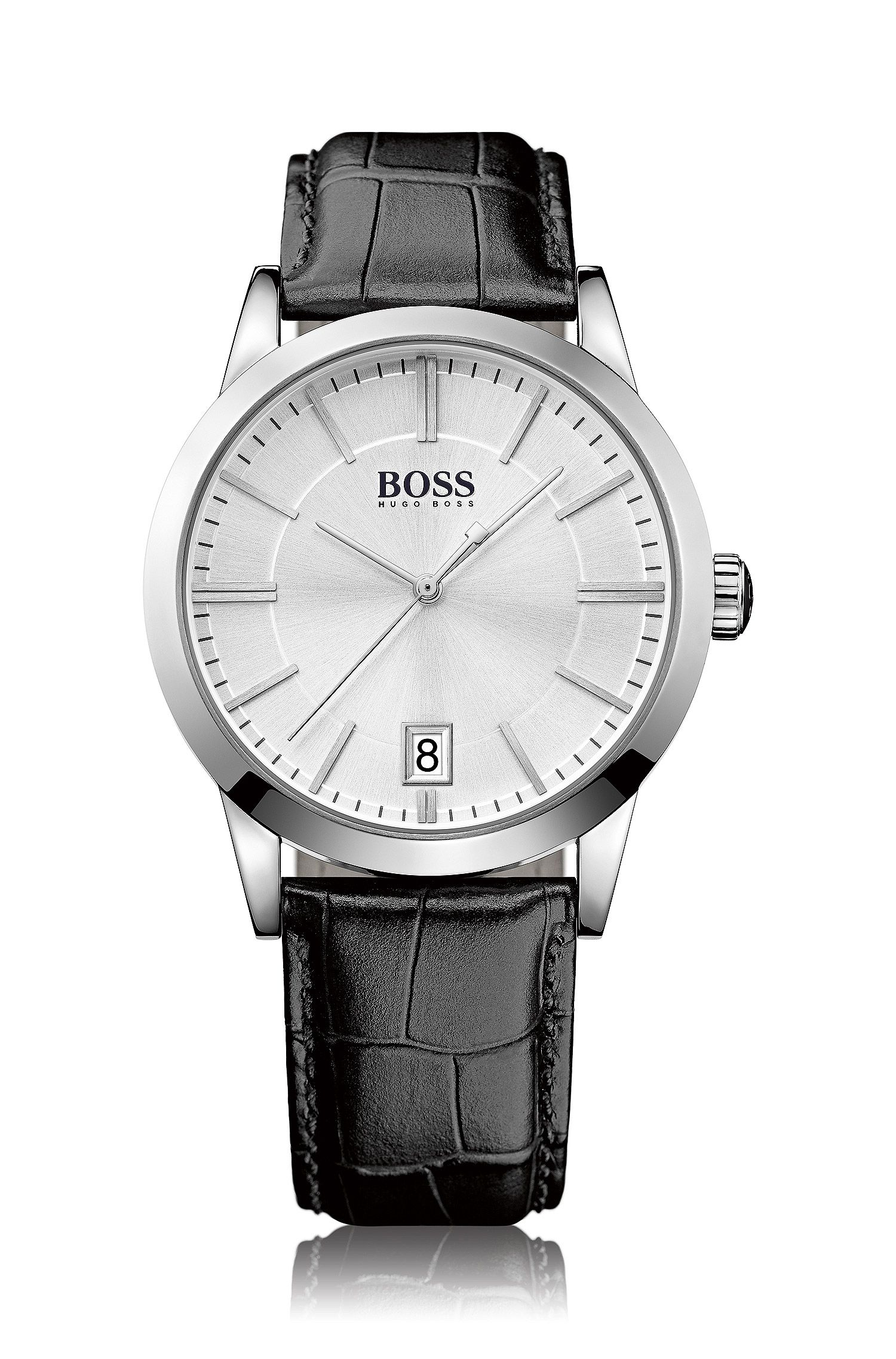 Polished stainless-steel three-hand watch with silver sunray dial and leather strap