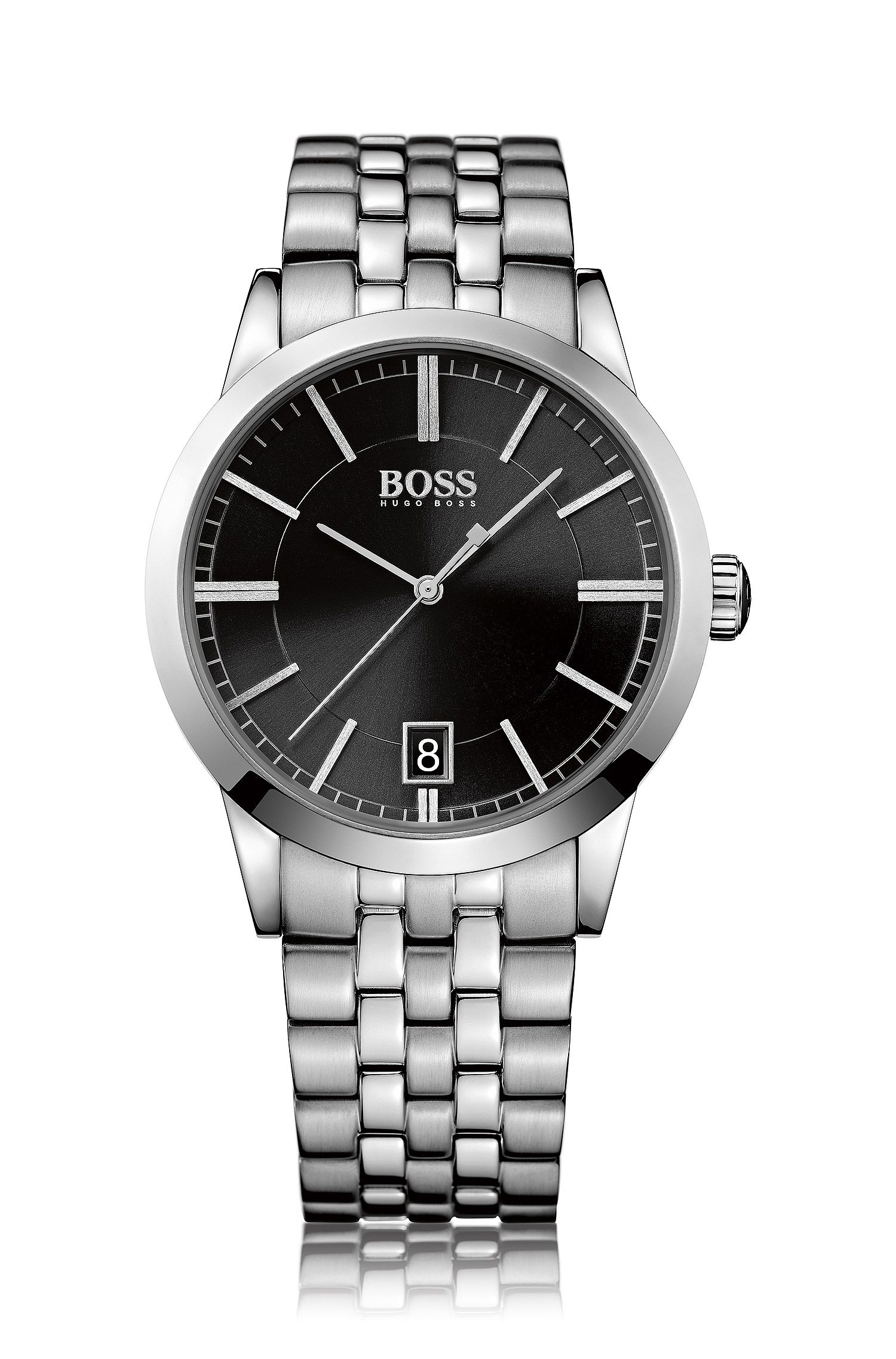 Polished stainless-steel watch with black sunray dial and linked bracelet