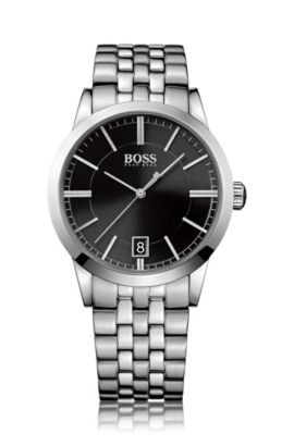 Polished stainless-steel watch with black sunray dial and linked bracelet, Grey