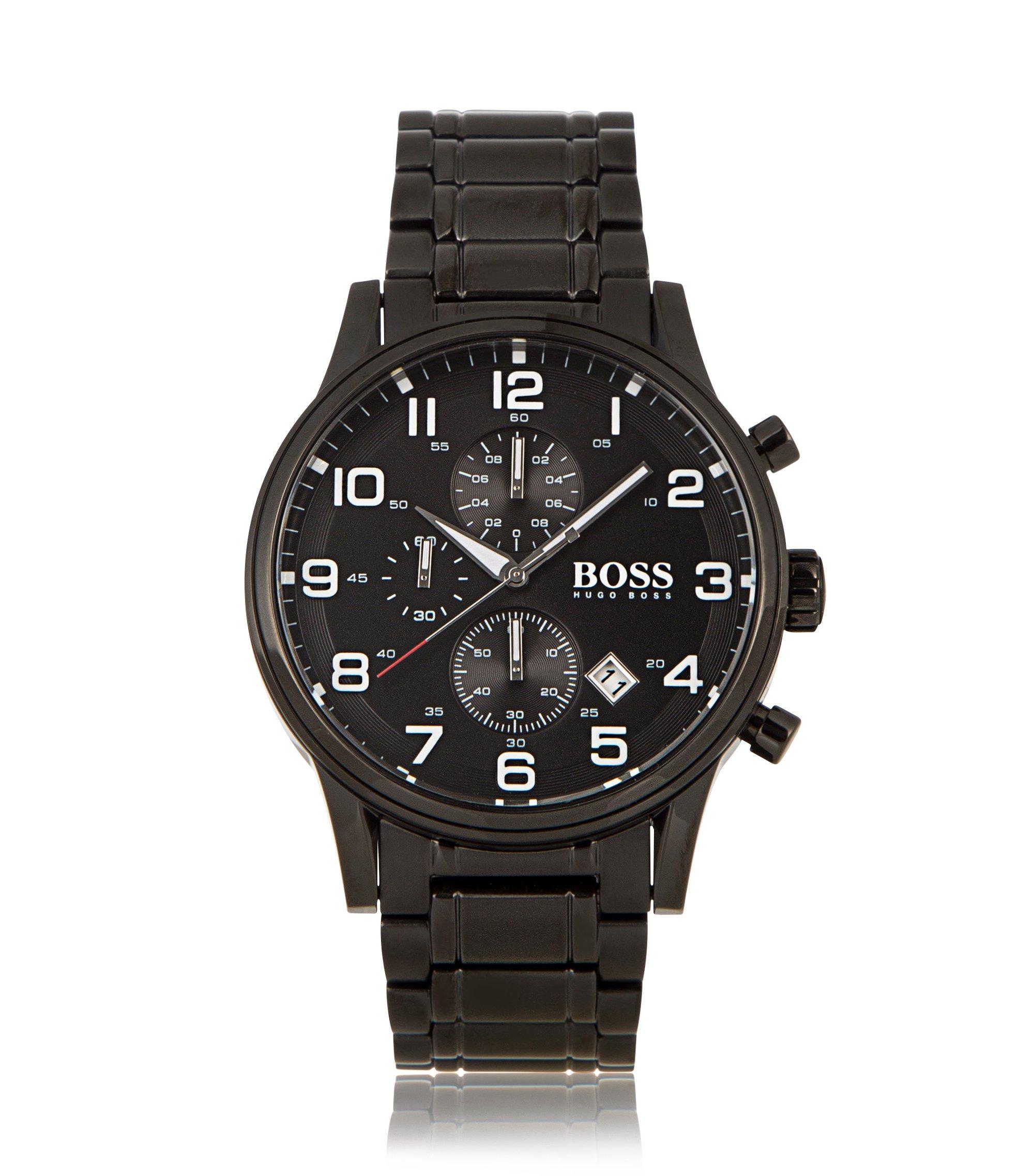 Chronograph ´HBAERIR`  mit schwarzem Edelstahlgehäuse, Grau