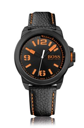 Watch with stainless-steel case: 'HB2381', Orange