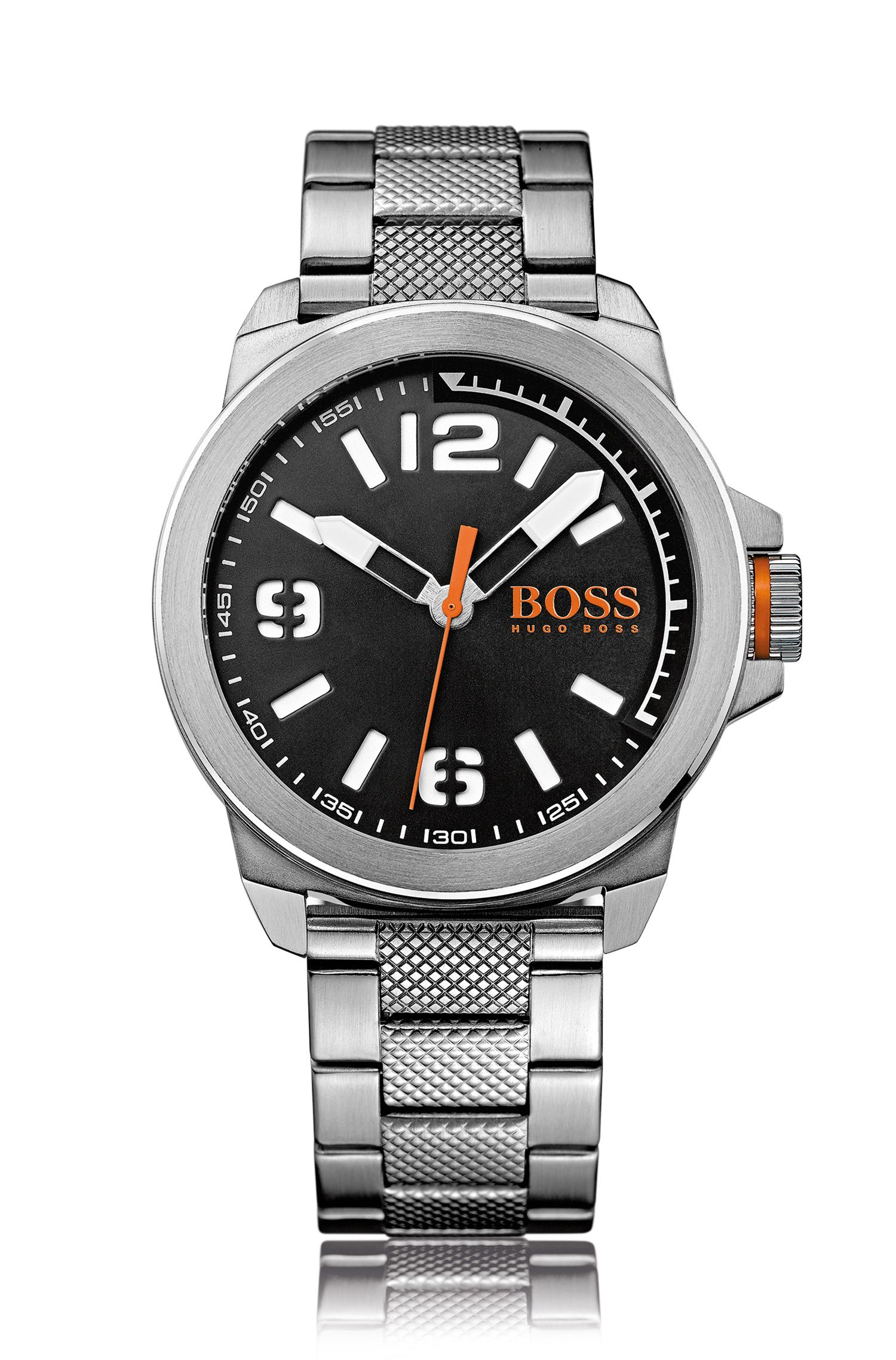 Three-hand watch with stainless steel bracelet