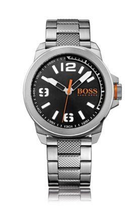 Uhr aus Edelstahl mit drei Zeigern und Gliederarmband, Silber