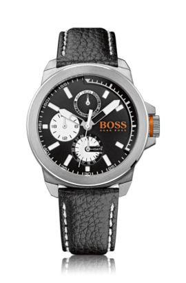 Montre multifonctionnelle à bracelet en cuir: «New York» , Noir