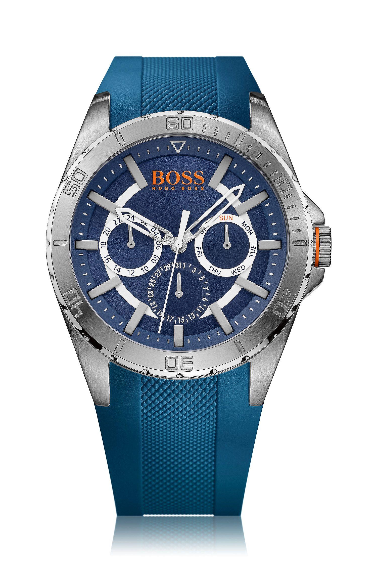 Multifunctioneel horloge 'HOBERLI' met band van blauw silicone