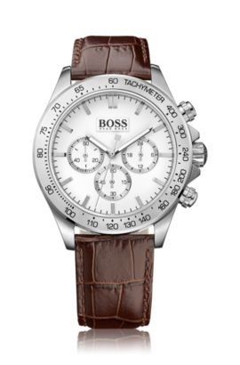 Stainless-steel chronograph watch with tachymeter and white dial, Brown