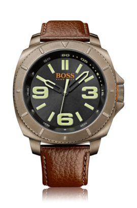 Armbanduhr ´HOSAOPO` mit Leder-Armband, Braun