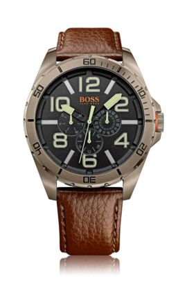 Multifunction watch 'HOBERLI' with a leather strap, Brown