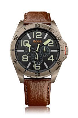 Multifunctioneel horloge 'HOBERLI' met leren band, Bruin