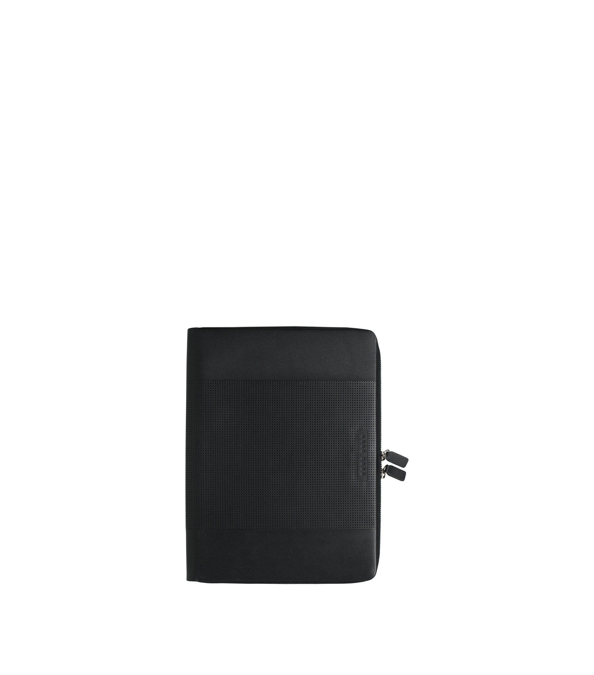 Cartella A4 con zip in pelle lavorata nera, Nero