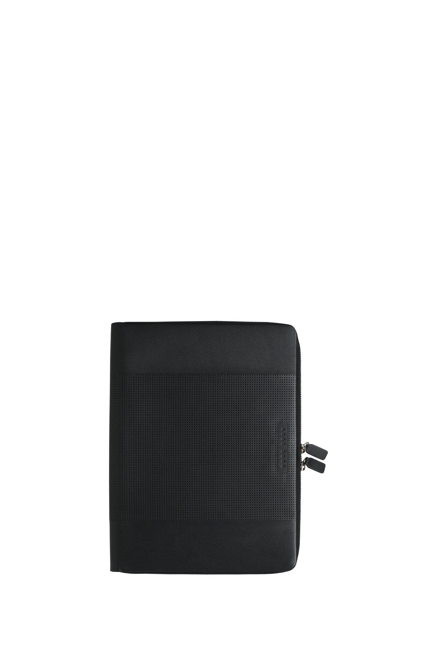 Cartella A4 con zip in pelle lavorata nera