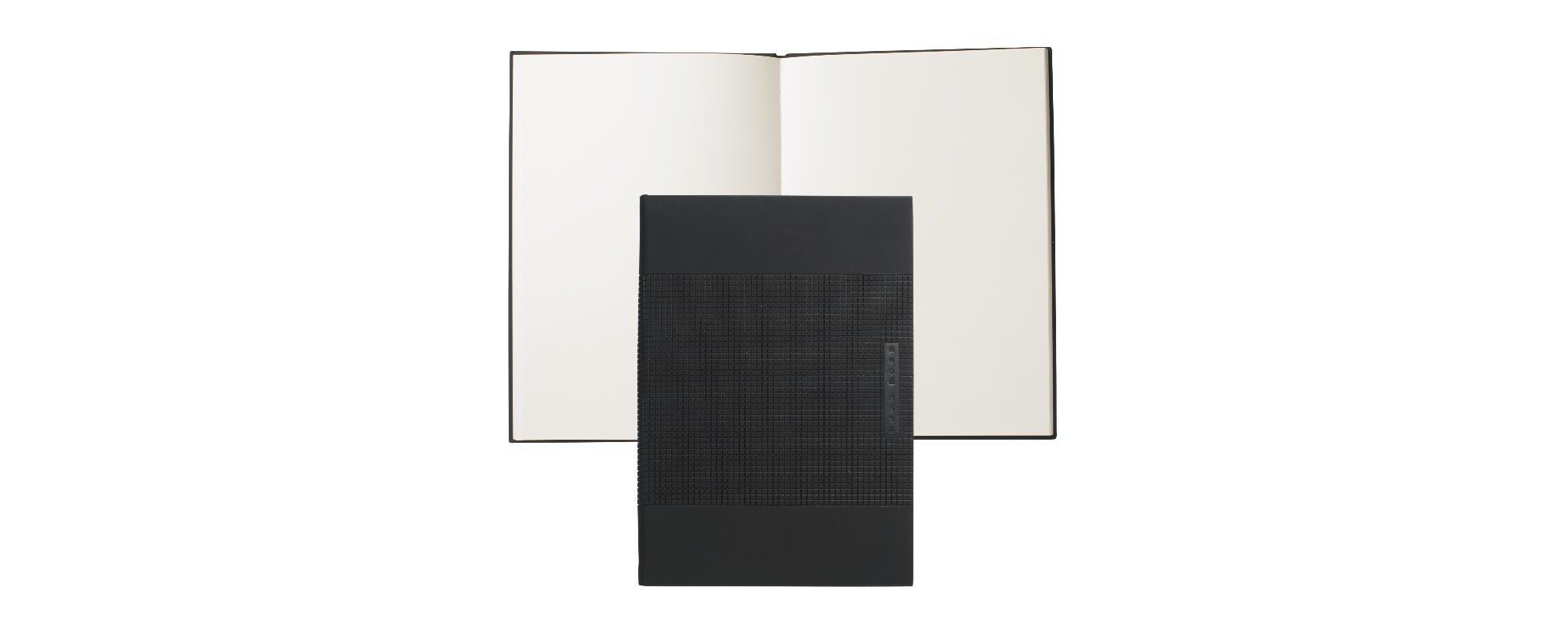 Notizbuch im DIN A5-Format mit strukturiertem Hardcover: 'Grid', Schwarz