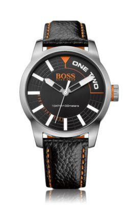 Montre à trois aiguilles avec boîtier en acier inoxydable et bracelet en cuir: «HB2681», Assorted-Pre-Pack