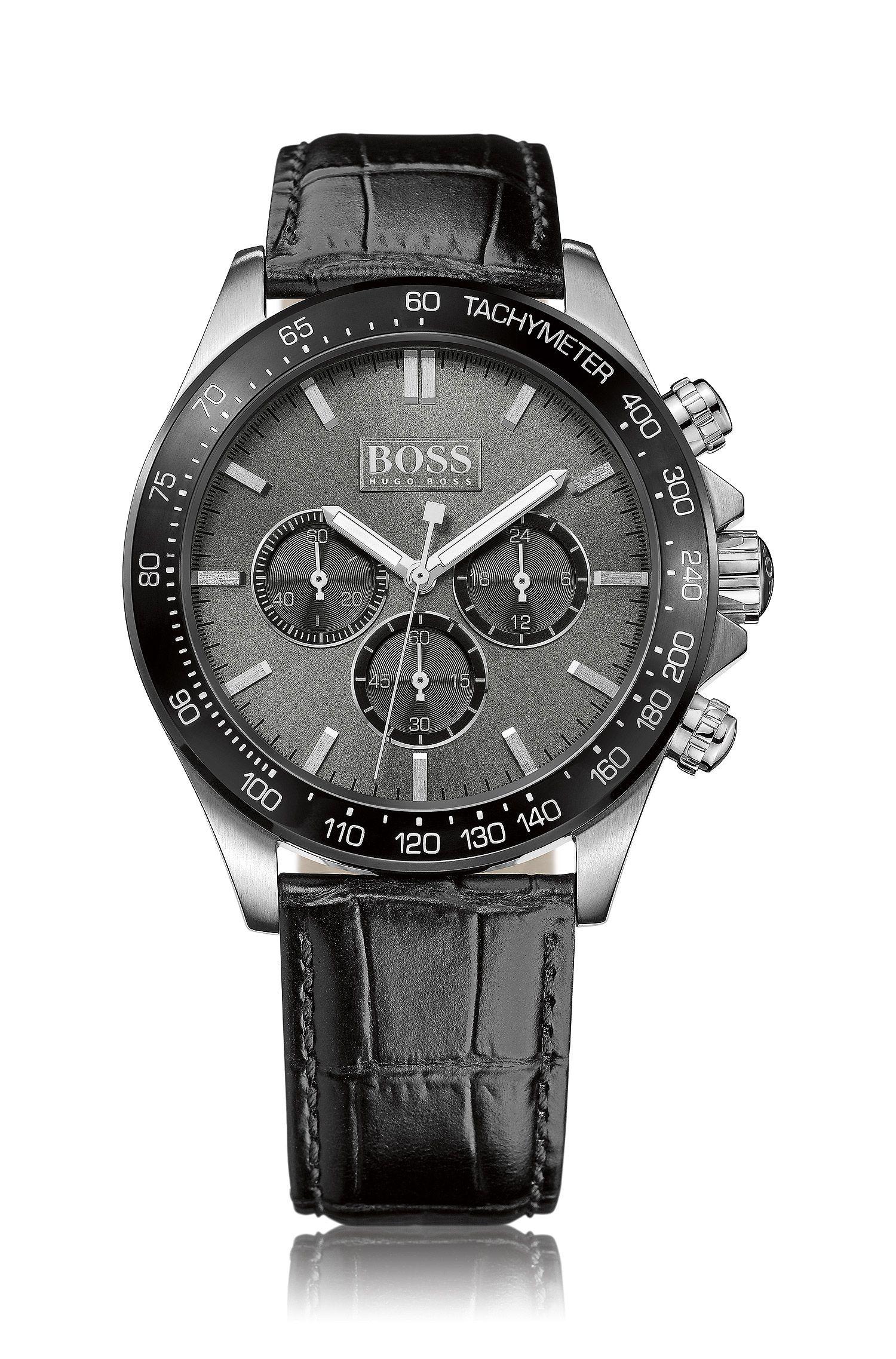 Chronographe «HBIKON» avec mouvement à quartz et bracelet en cuir