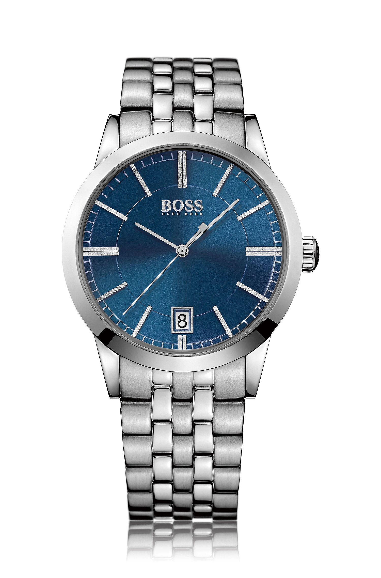 Polished stainless-steel watch with blue sunray dial and linked bracelet
