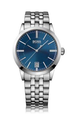 Uhr aus poliertem Edelstahl mit Sonnenstrahlen-Effekt auf dem Zifferblatt und Gliederarmband, Grau