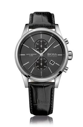 Polished stainless-steel two-eye chronograph watch with black sunray dial and leather strap, Black