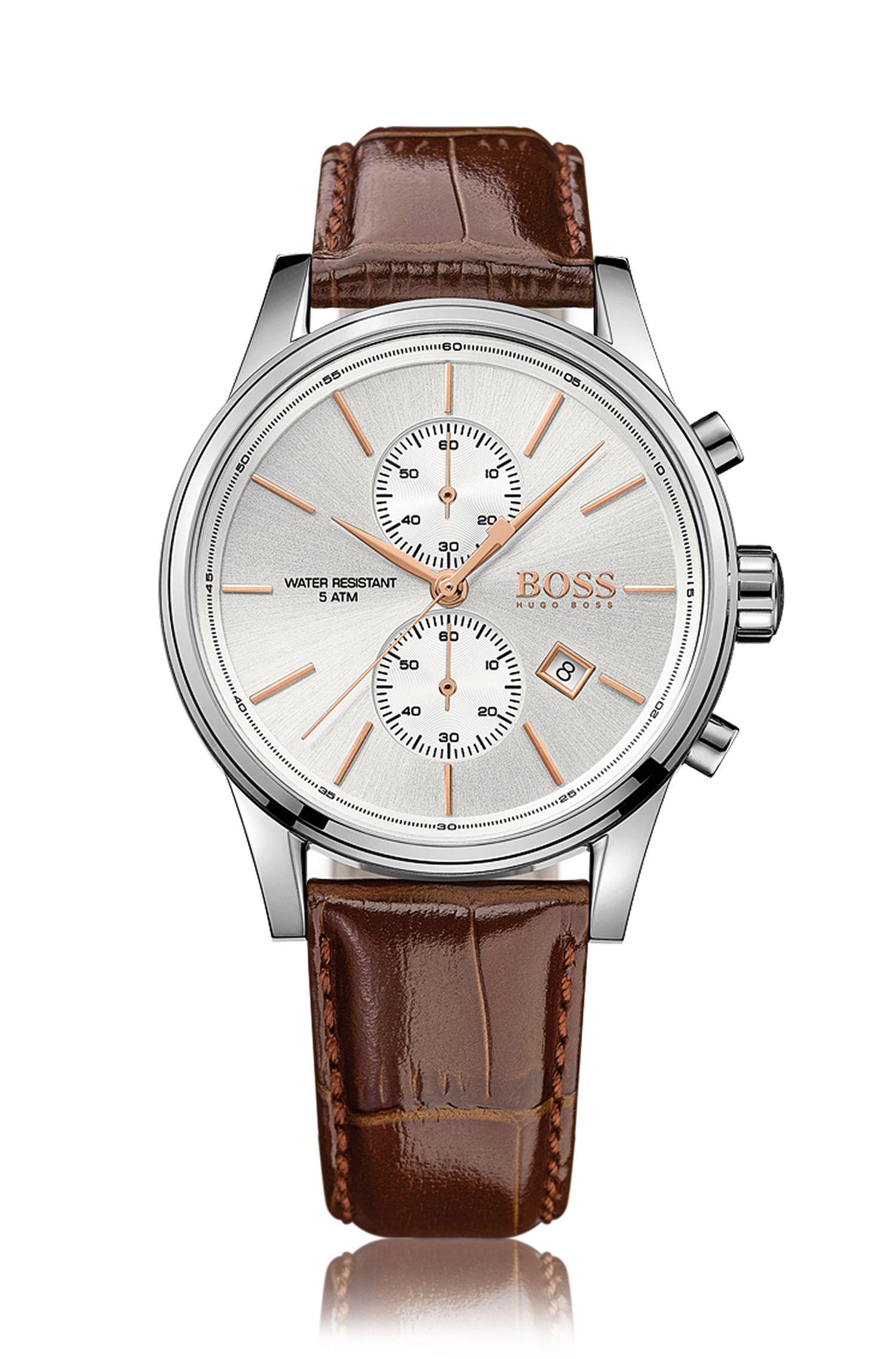 Montre chronographe avec mouvement à quartz et bracelet en cuir: «JET»