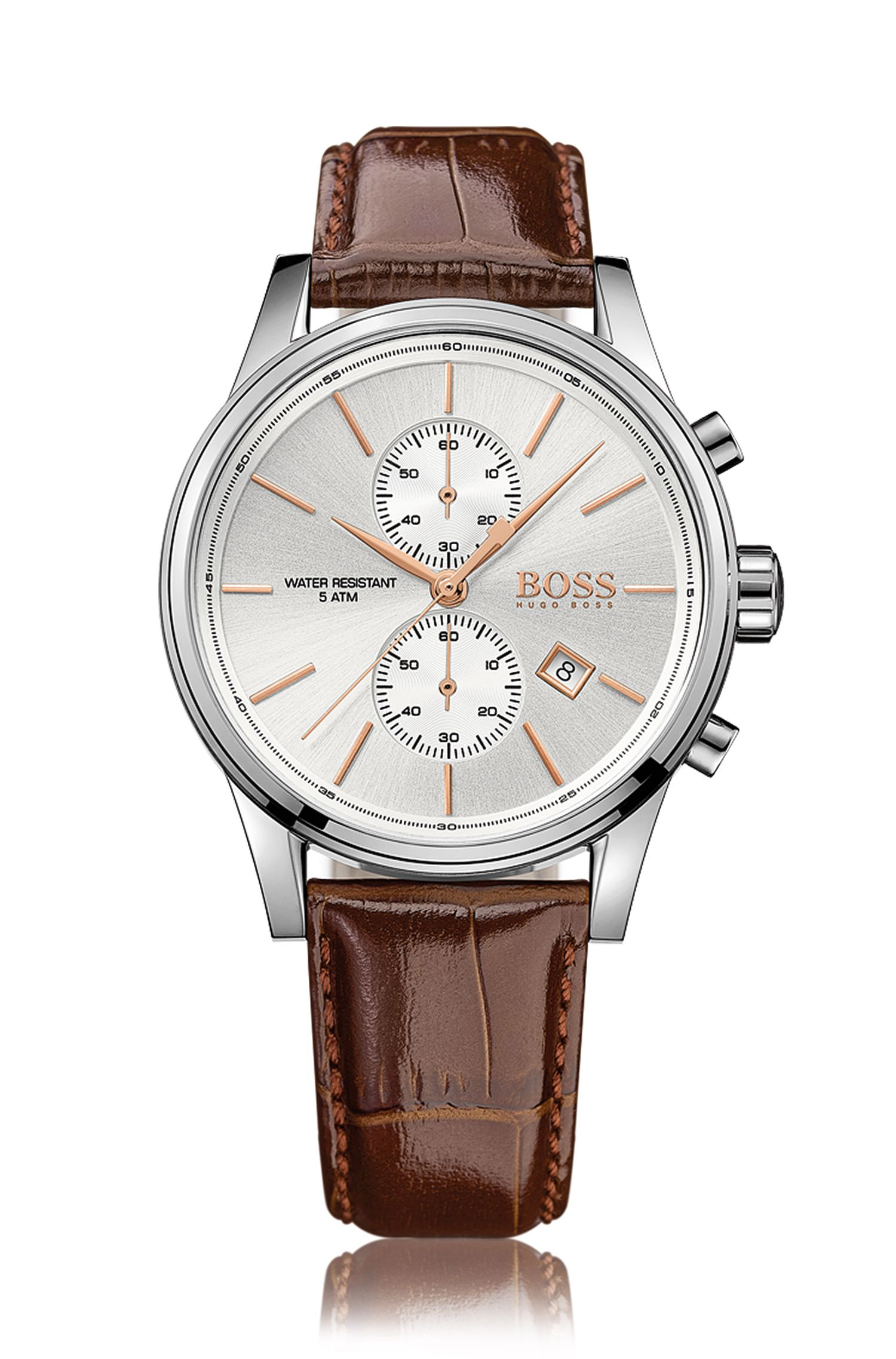 Three-hand watch with leather strap