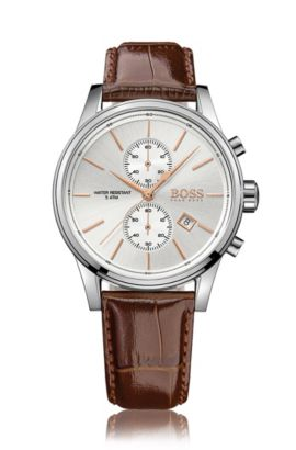 Three-hand watch with leather strap, Brown