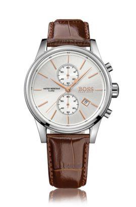 Montre chronographe avec mouvement à quartz et bracelet en cuir: «JET», Marron