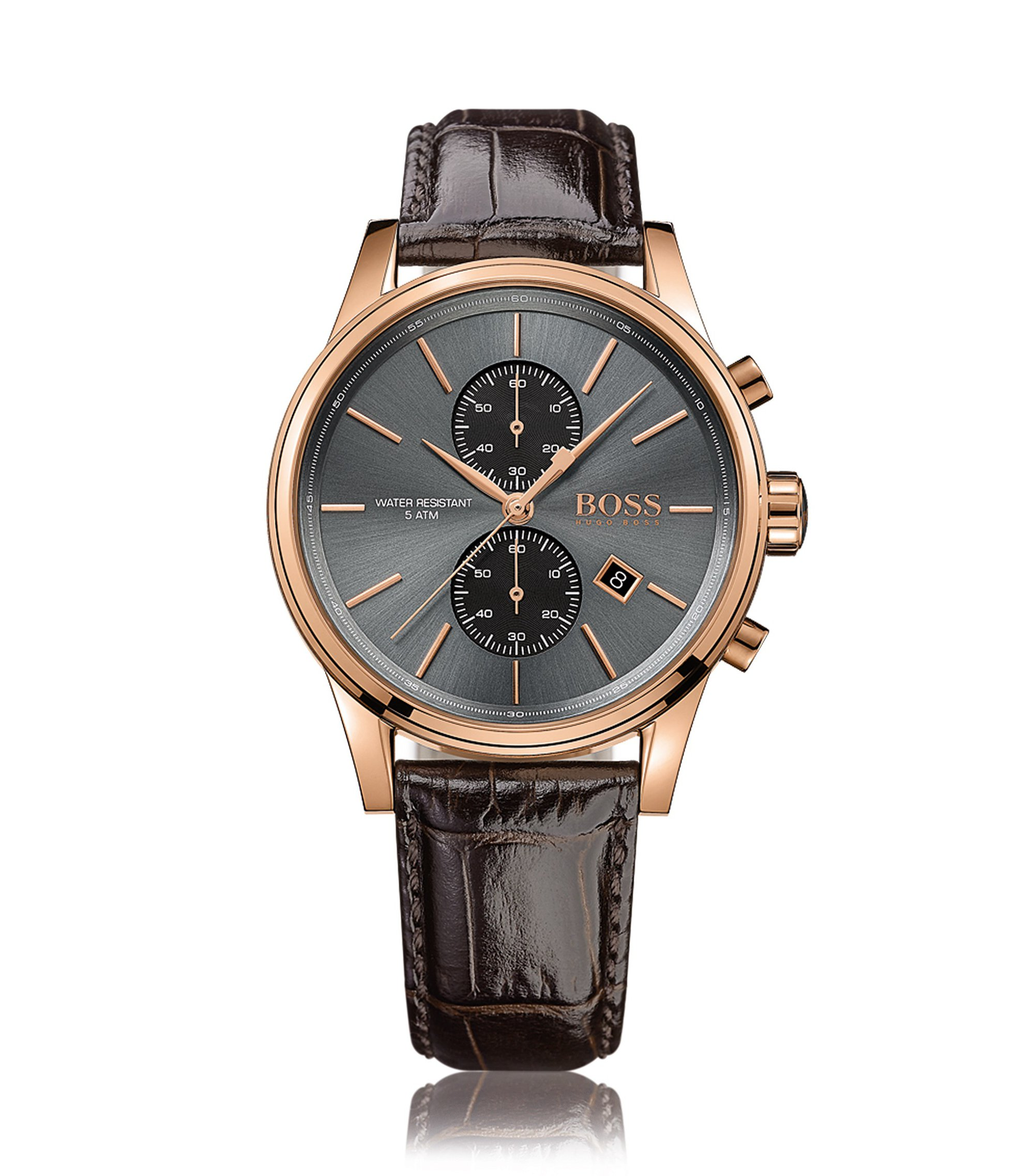 Rose-gold stainless-steel two-eye chronograph watch with grey sunray dial, Dark Brown