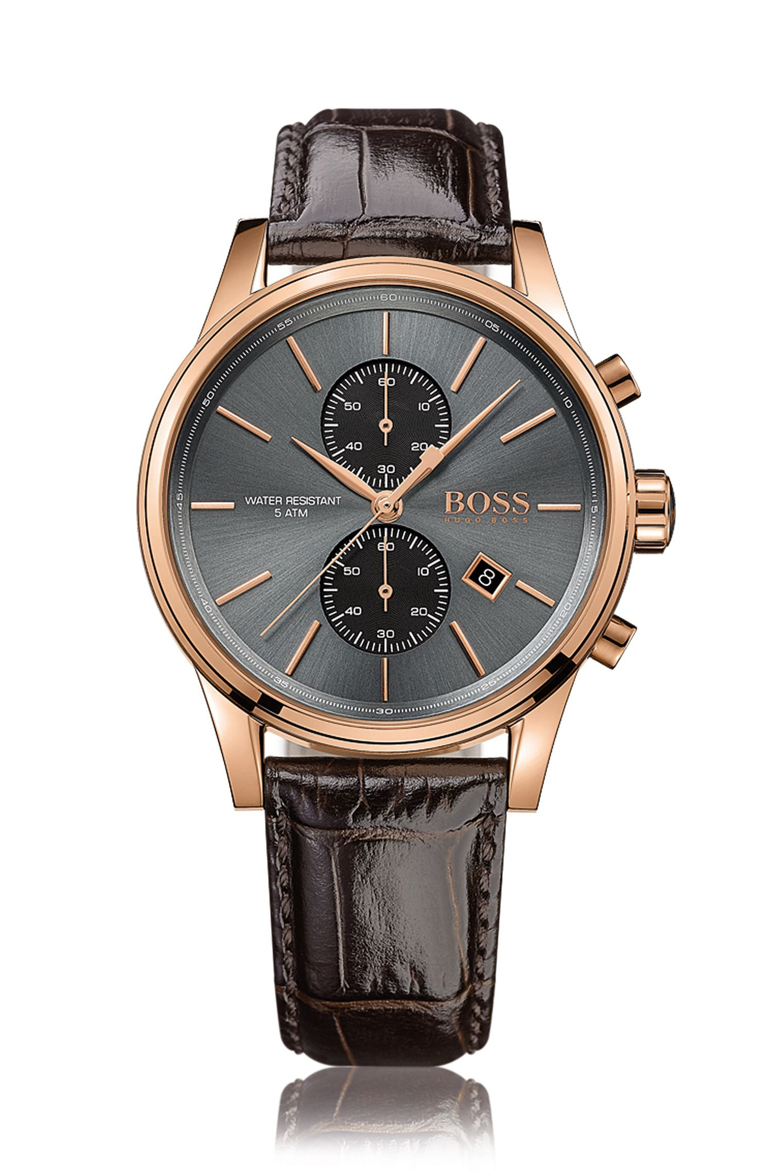 Rose-gold stainless-steel two-eye chronograph watch with grey sunray dial