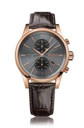 Montre chronographe à cadran gris soleillé avec deux sous-cadrans, en acier inoxydable plaqué or rose, Marron