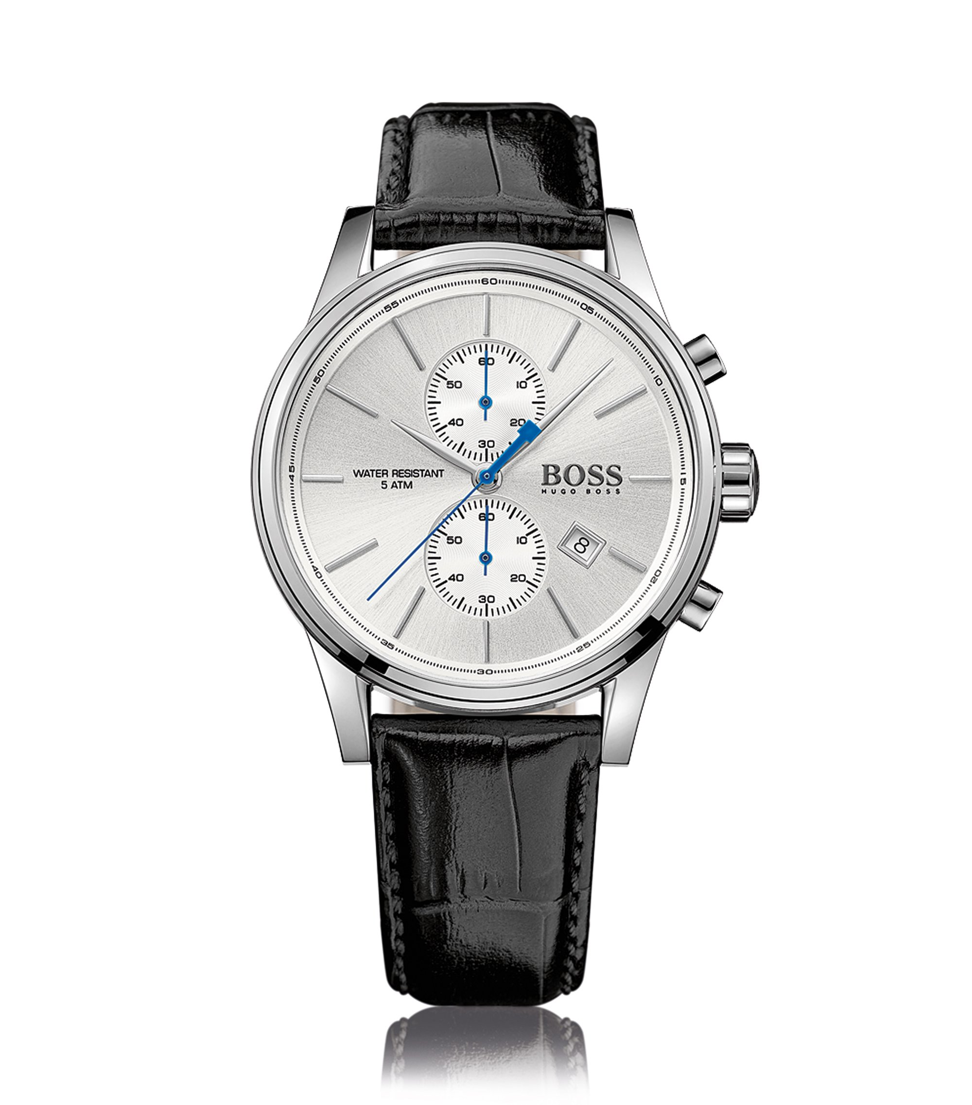 Polished stainless-steel two-eye chronograph watch with silver dial and leather strap, Black