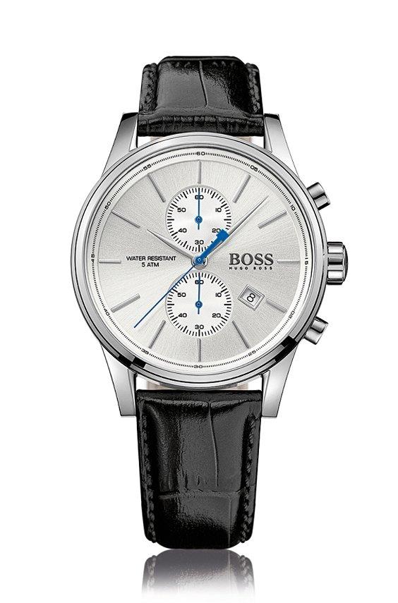 Montre chronographe avec mouvement à quartz et bracelet en cuir: «JET», Assorted-Pre-Pack