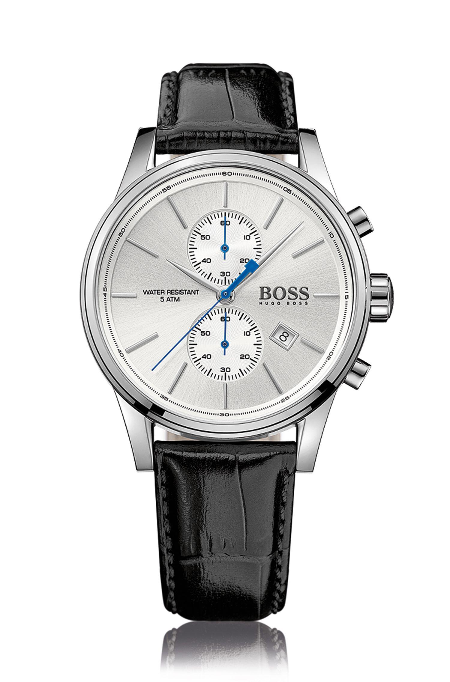 Montre chronographe à deux sous-cadrans en acier inoxydable poli, à cadran argenté et bracelet en cuir