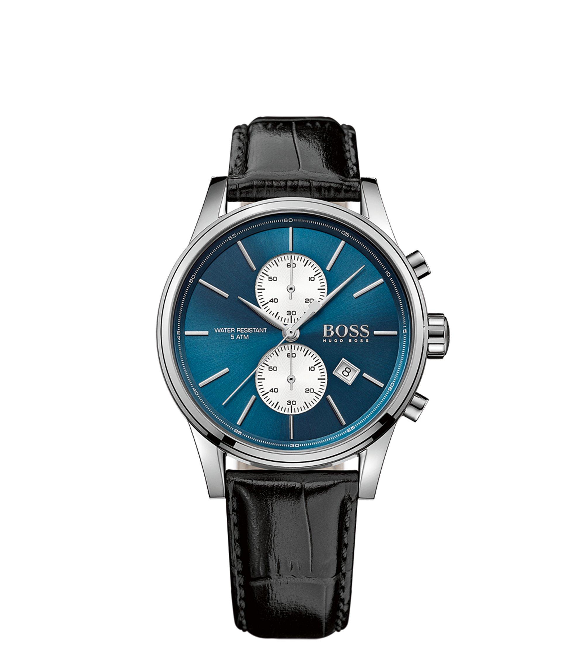 Uhr aus Edelstahl mit drei Zeigern und Lederarmband, Schwarz