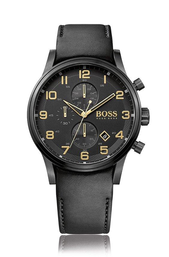 Chronographe de style aviateur avec bracelet en cuir: «HB7020», Assorted-Pre-Pack