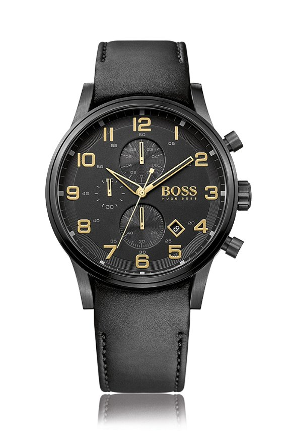 Chronograph im Aviator-Stil mit Lederarmband: 'HB7020', Assorted-Pre-Pack