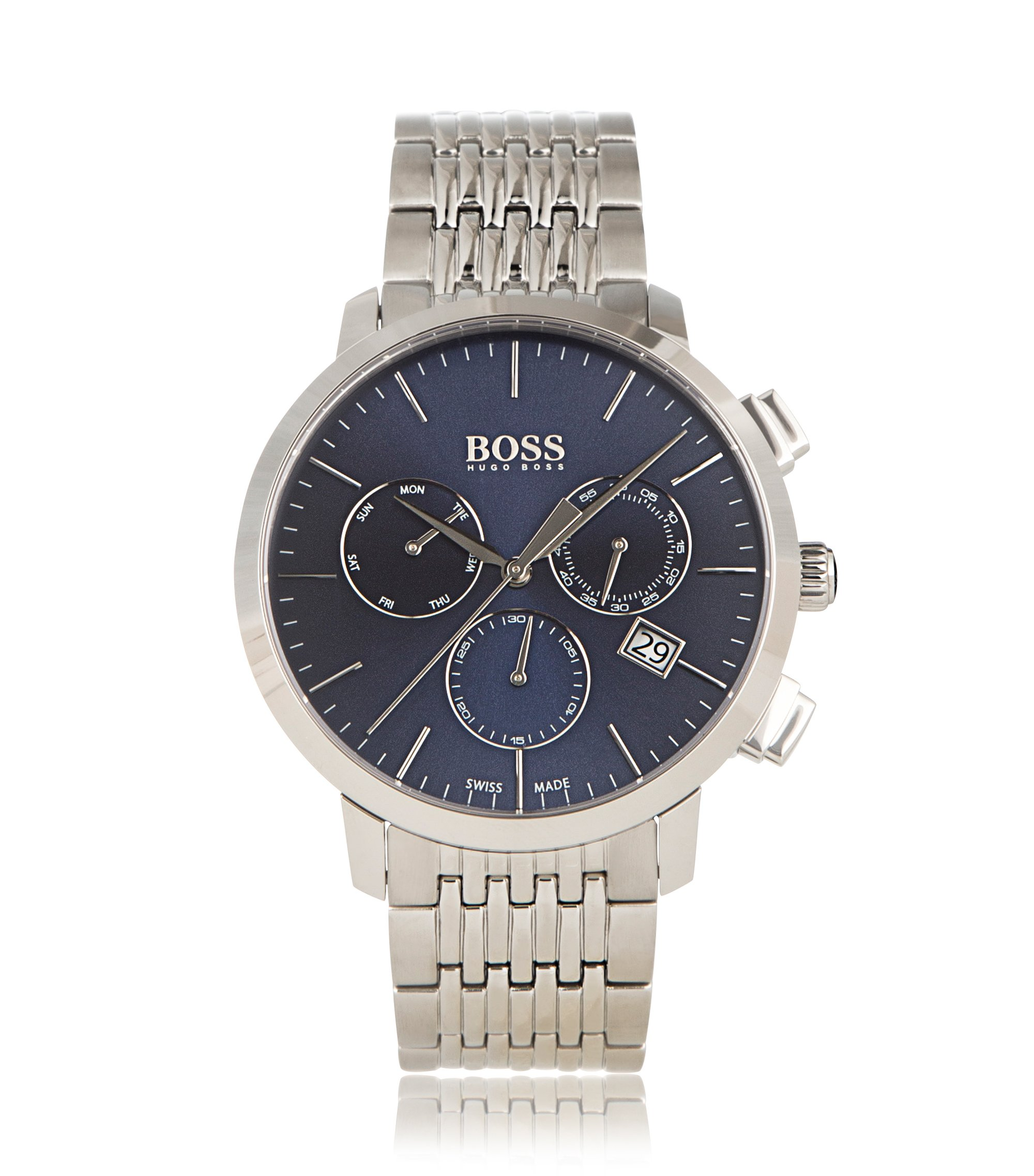 Three-hand chronograph watch in polished stainless steel, Grey
