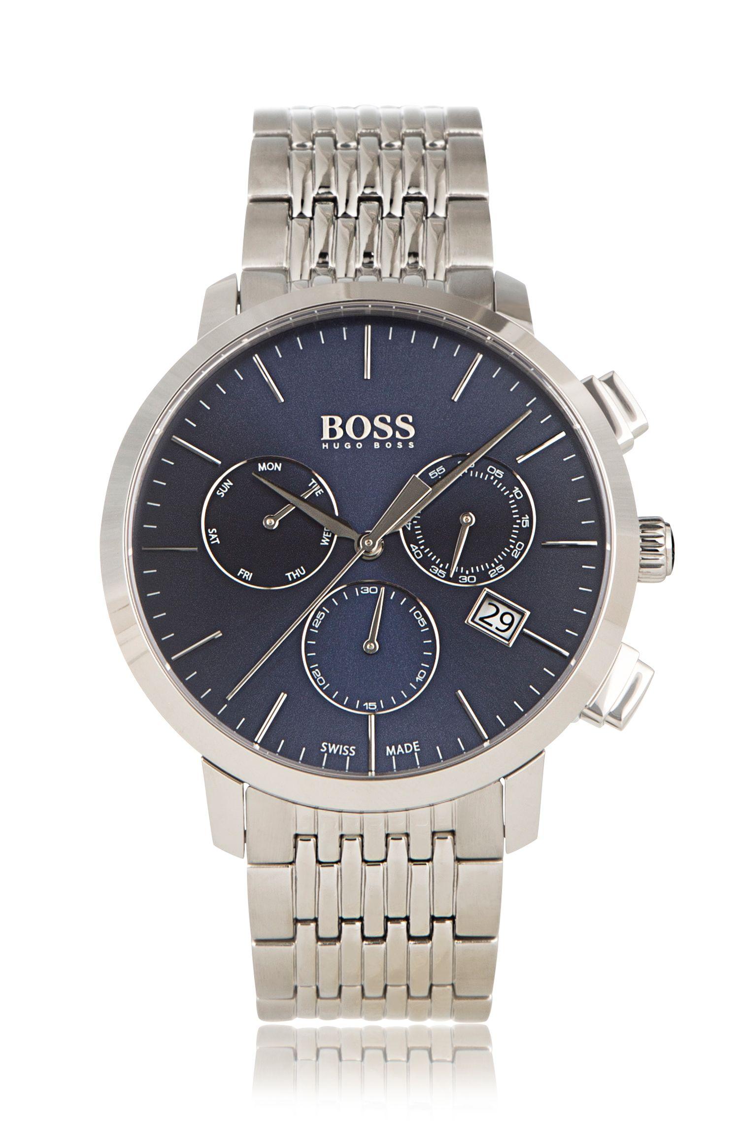 Cronografo in acciaio inossidabile con cinturino a maglie: 'Signature Timepiece'