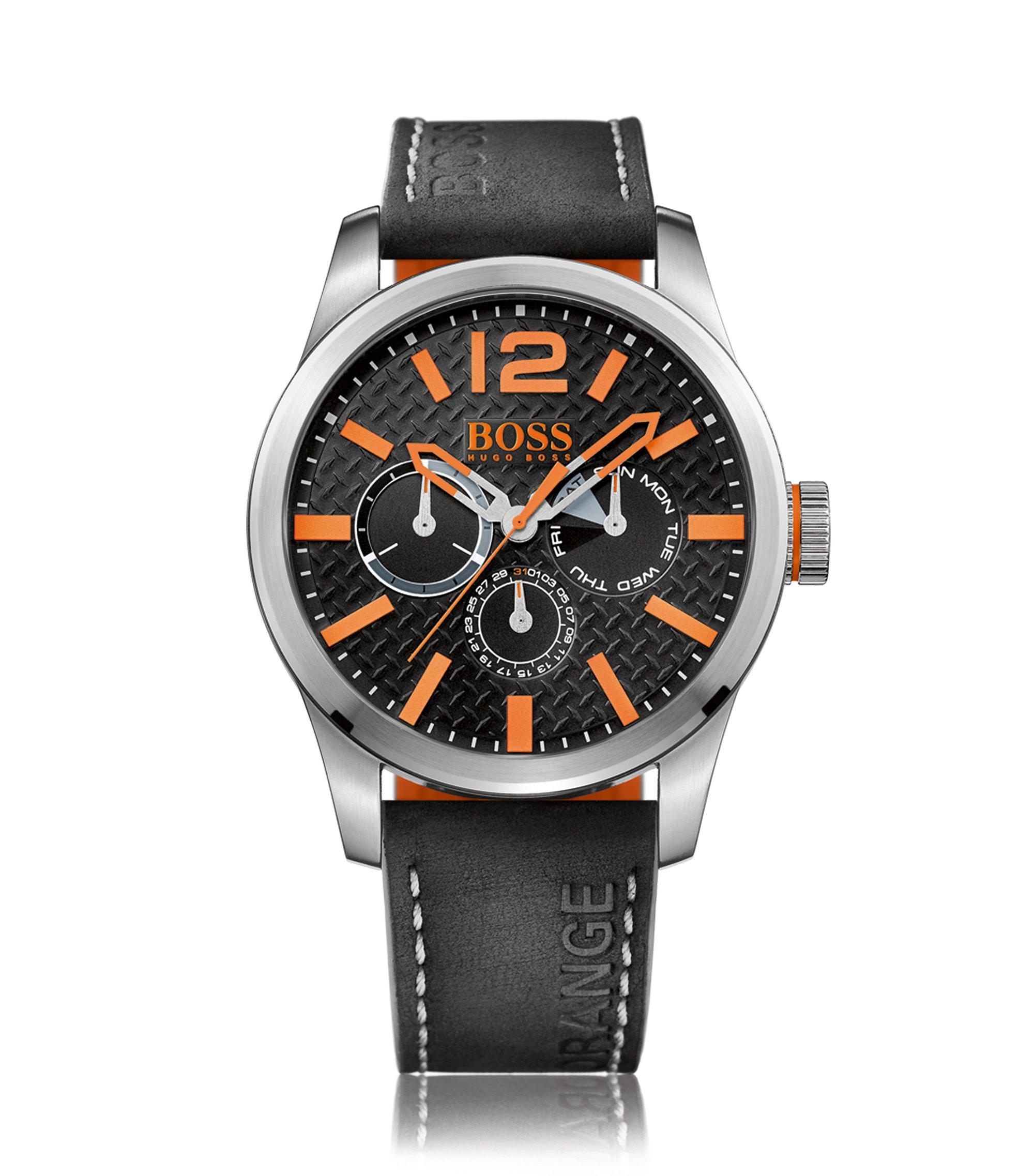 Orologio con diversi contatori in acciaio inox dotato di indici arancioni e cinturino nero in nabuk, Arancione