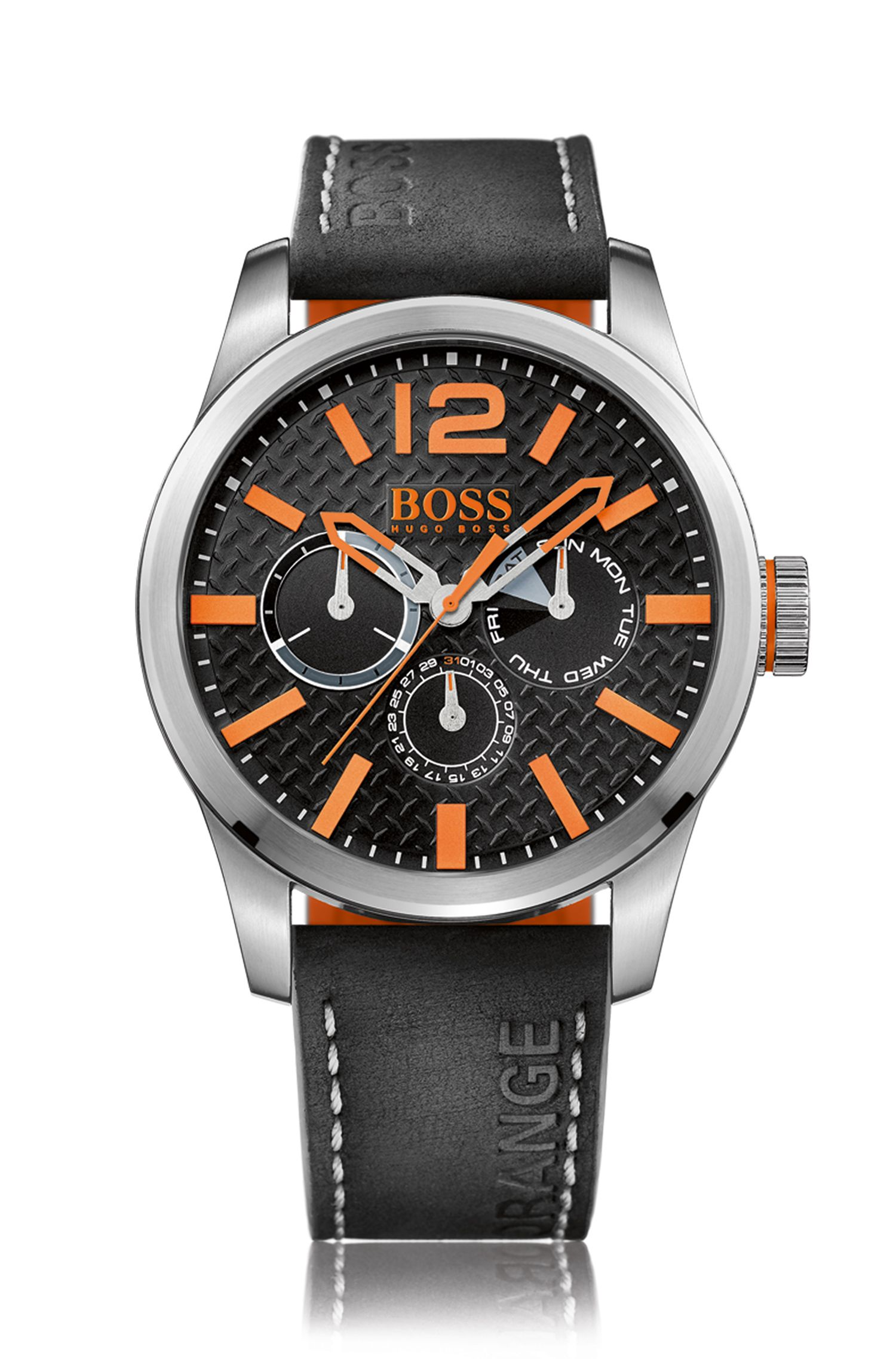 Stainless-steel multi-eye watch with orange indexes and black nubuck strap