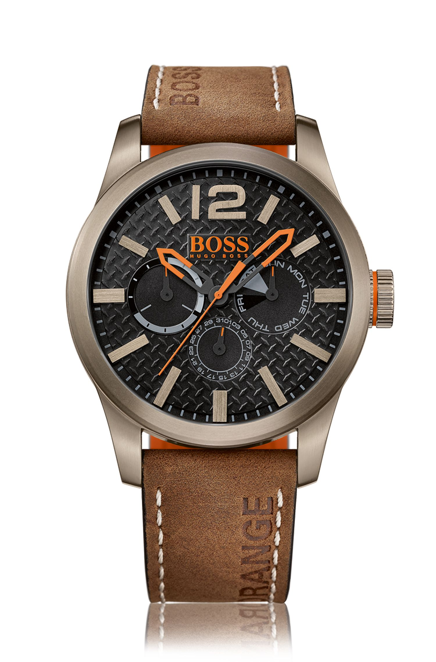 Khaki-plated stainless steel multi-eye watch with textured dial and nubuck strap