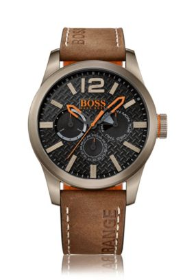 Khaki-plated stainless steel multi-eye watch with textured dial and nubuck strap, Brown